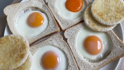 Eggs cooked in bread on a sandwich press are easy and neat