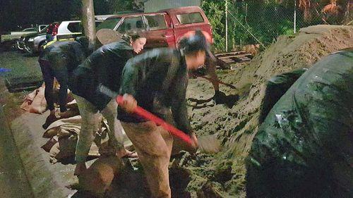 Community members filling up sandbags in Port Macquarie