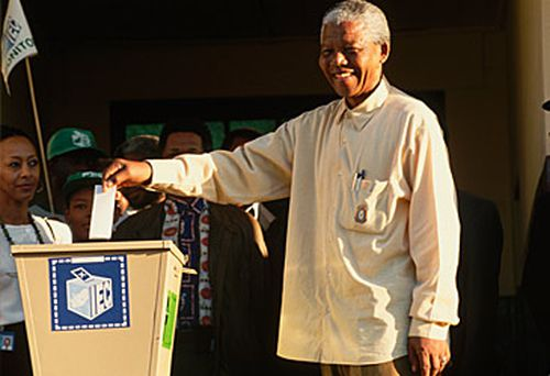 Nelson Mandela casting his vote in 1994. (Getty)