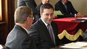 Victorian Liberal leader Matthew Guy, pictured with outgoing leader Denis Napthine. (AAP)
