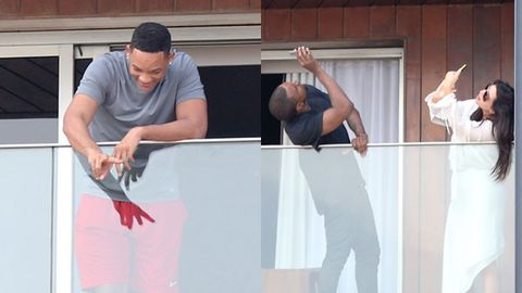 Watch: Kim and Kanye take sneaky pics of Will Smith on holiday in Rio