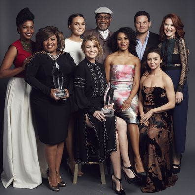 The cast of 'Grey's Anatomy'  actors Ellen Pompeo, Justin Chambers, Jessica Capshaw, Jerrika Hinton, Chandra Wilson, Caterina Scorsone, Sarah Drew, Kelly McCreary, and James Pickens Jr.  pose for a portrait at the 2016 People's Choice Awards at the Microsoft Theater on January 6, 2016 in Los Angeles, California. (Photo by Smallz & Raskind/Getty Images for The People's Choice Awards)