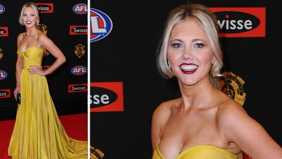 Candice Quinlan shone in her strapless number. She was Hawthorn's Isaac Smith's date. (AAP)