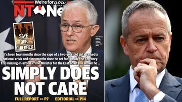 The NT News takes aim  at PM Malcolm Turnbull on June 14, 2018. Labor leader Bill Shorten (right) has also accused the PM of not visiting NT frequently enough. (AAP)