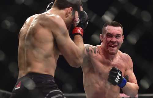 Fighters Demian Maia and Colby Covington during a fight for the middleweight category on UFC S Paulo's main card Paulo held at the Ibiraquera gym. (AAP)