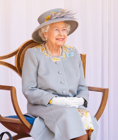 WINDSOR, ENGLAND - JUNE 12: Queen Elizabeth II attends the Trooping of the Colour military ceremony in the Quadrangle of Windsor Castle to mark her Official Birthday on June 12, 2021 at Windsor Castle on June 12, 2021 in Windsor, England. (Photo by Pool/Samir Hussein/WireImage)