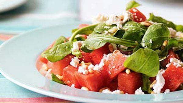 Watermelon, rocket & pine nut salad