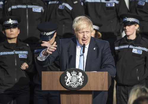 Prime Minister Boris Johnson gives a speech to police officers during a visit on September 5, 2019 in West Yorkshire, United Kingdom. The government promised $1.3bn in a spending review to fund the first year of a plan to recruit an extra 20,000 police officers.