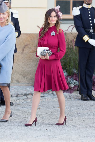 Princess Sofia of Sweden in Gucci at Drottningholm Palace for the Christening of Prince Nicolas of Sweden in Stockholm, Sweden, October, 2015