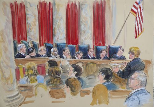 Courtroom sketch from Kavanaugh's first time on the bench.