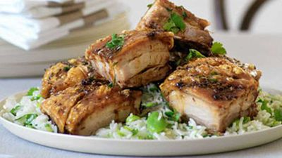 "Recipe: <a href=""http://kitchen.nine.com.au/2016/05/19/12/36/crisp-pork-belly-lemon-rice-with-broadbeans"" target=""_top"" draggable=""false"">Crisp pork belly & lemon rice with broadbeans</a>"