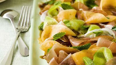 """Rethink salad dressing with our <a href=""""http://kitchen.nine.com.au/2016/05/19/19/40/rockmelon-mint-and-prosciutto-salad-with-pedro-ximnez-syrup"""" target=""""_top"""">rockmelon, mint and prosciutto salad with Pedro Xim&eacute;nez syrup</a> recipe"""