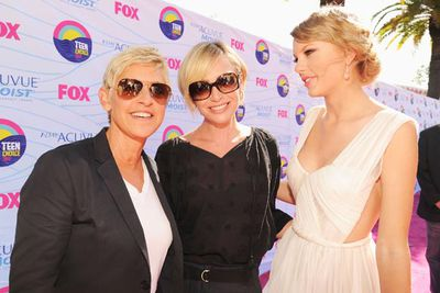 Ellen DeGeneres and wife Portia de Rossi are joined by Taylor Swift.