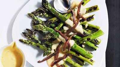 "Recipe: <a href=""http://kitchen.nine.com.au/2016/05/16/14/32/grilled-asparagus-with-parmesan-cream-and-anchovies"" target=""_top"">Grilled asparagus with parmesan cream and anchovies</a>"