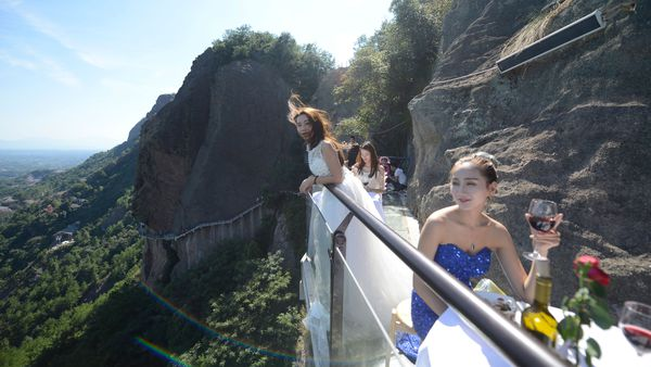 Restaurant in China's Hunan province on glass walkway