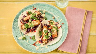 """Recipe:<a href=""""http://kitchen.nine.com.au/2017/05/31/14/09/spicy-tofu-tacos-with-mango-mayonnaise"""" target=""""_top"""" draggable=""""false"""">spicy tofu tacos with mango mayonnaise</a>."""