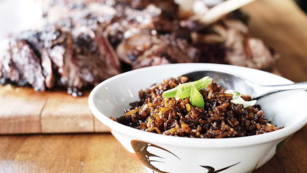 New Ubin Seafood's black Angus ribeye with 'heart attack' fried rice