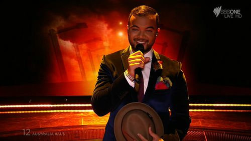 Guy Sebastian performs onstage at Eurovision. (SBS)