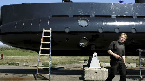 Peter Madsen and his submarine in 2008. (AP)