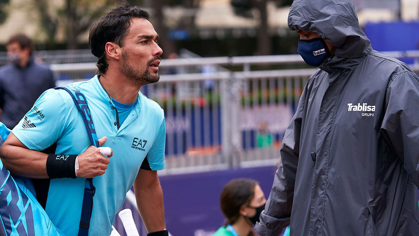 Fabio Fognini of Italy argues with the judge during his Men's Singles round of 32 match against Bernabe Zapata of Spain on day three of the Barcelona Open.