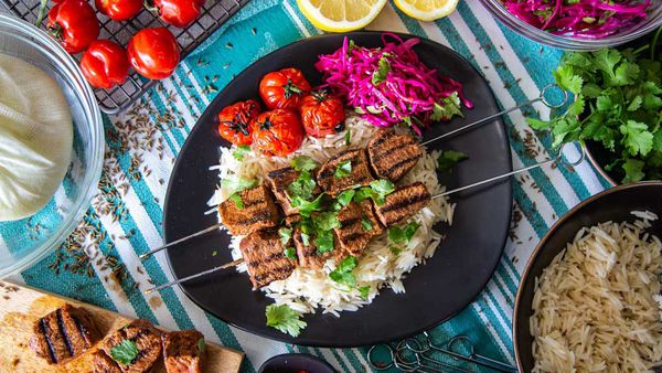 The Samadi's Lamb Kebabs with Rice and Pickled Cabbage