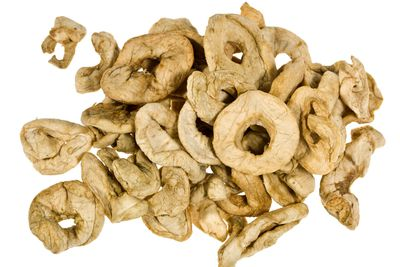 Dried apple: 57.2g sugar per 100g