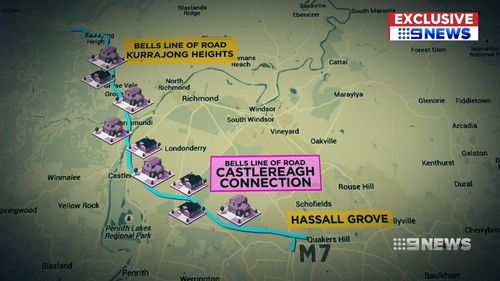 The government's proposal shifted the Castlereagh Connection, placing it in the path of hundreds of homes and businesses. (9NEWS)