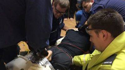 NSW Ambulance paramedics monitored the man, who is autistic, during the hour-long rescue and took him to hospital as a precaution.