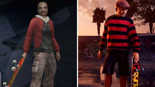 Steve Caballero in the original Tony Hawk's Pro Skater 2 and the remastered version
