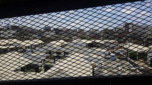 View through a mesh window over part of Aden Central Prison, known as Mansoura, in Aden, Yemen. (AAP)