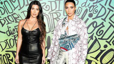 Kourtney Kardashian and Kim Kardashian West at the Dior men's 2020 runway show