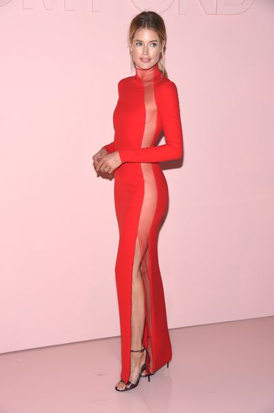 "<p>Competition to see who can wear the highest slit dress has been raging on the red carpet since <a href=""http://style.nine.com.au/2017/07/04/10/59/lip-filler-for-a-perfect-mouth-no-trout-pout-how-to-get-it-right-kylie-jenner"" target=""_blank"">Angelina Jolie</a> stepped out at the 2012 Oscars in a black Atelier Versace gown with a show of thigh that received its own Twitter account but we now have a winner.</p> <p>At the after party for Tom Ford's show, celebrating his limited edition fragrance F**king Fabulous, Dutch <a href=""http://style.nine.com.au/2016/12/01/07/46/victorias-secret-2016-paris-gigi-bella-adriana-kendall"" target=""_blank"">Victoria's Secret</a> supermodel Doutzen Kroes wore a fitted red gown with the illusion of a slit from toe to top thanks to some serious craftsmanship and a sheer panel.</p> <p>""When it fits like a glove... @tomford,"" the 32-year-old posted to her Instagram account.</p> <p>Kroes received stiff competition from US model Karlie Kloss who will return to the Victoria's Secret runway in November, with Taylor Swift's squad member wearing a relatively conservative black slit dress with a choker, giving off Tom Ford at Gucci vibes.</p> <p>The only Australian to make an impact was former Miss World Australia (2012) in a fitted blush Tom Ford dress (no slit).</p> <p>""Thank you for having me at your show @TomFord &amp; dressing me in this beautiful and classic vintage dress. Goodnight NYC,"" Kahawaty posted.<br> <br> </p>"