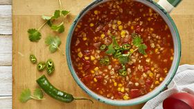 Chunky corn, tomato and chorizo soup with barley