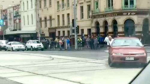 The red car allegedly used to mow down scores of Melbourne pedestrians on Bourke Street.