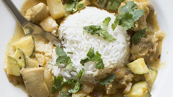 Indian chicken and apple curry with basmati rice