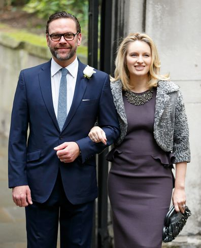 James Murdoch and wife Kathryn Murdoch arrive at St Bride's Church for Murdoch and Hall's 2016 wedding.