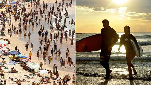 People enjoy the water at sunrise at Bondi Beach in Sydney. (AAP)