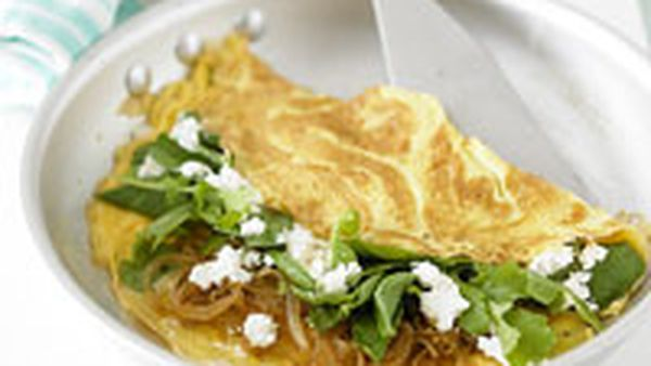 Spinach, rocket and goat's cheese omelette