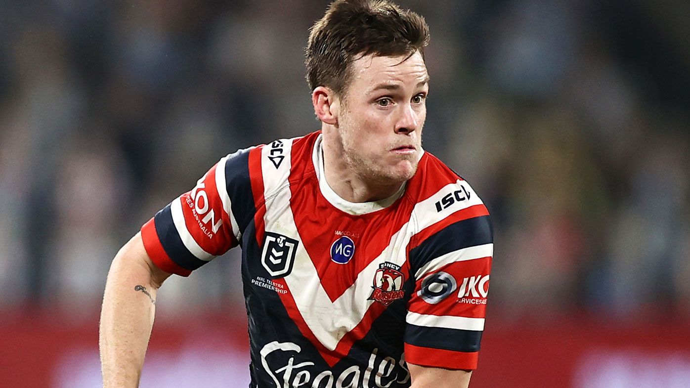 Luke Keary of the Roosters runs the ball
