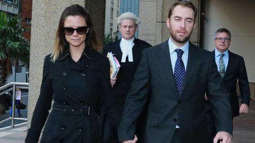 Bianca Rinehart, the daughter of mining billionaire Gina Rinehart, and her husband Sasha Serebryakov arrive at the Supreme Court at an earlier appearance. (AAP)