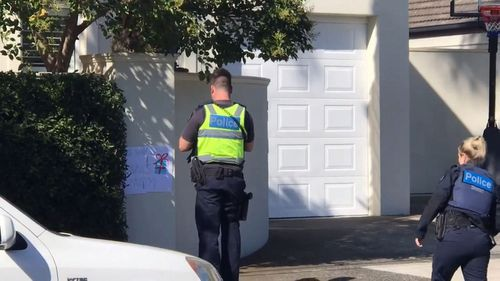 Police break up a child's birthday party in Melbourne.