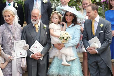 Sophie Winkleman and Lord Frederick Windsor at the wedding of his sister Lady Gabriella Winsor and Thomas Kingston.