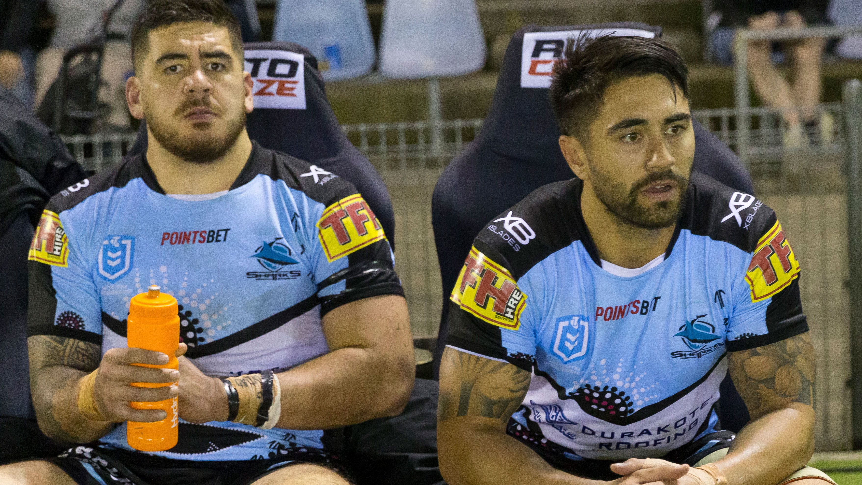 Shaun Johnson (right) after being hooked against the Broncos.
