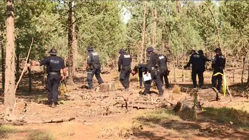 Today's search is the third time police have investigated the forrest, however authorities say new information has given police renewed confidence of finding her body. Picture: 9NEWS.