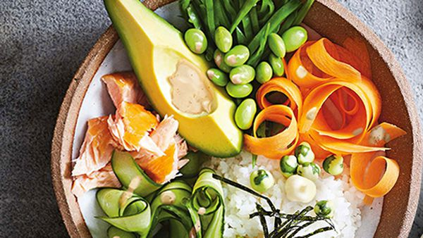 Salmon and avocado poke bowl by Praise