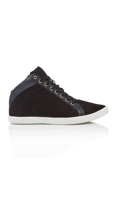 "<a href=""http://www.sportsgirl.com.au/sylvester-hightop-sneaker-black"" target=""_blank"">Sneakers, $59.95, Sportsgirl</a>"
