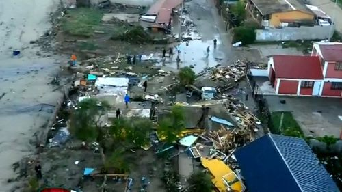 An aerial photo captures the scale of the destruction.