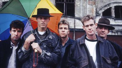 Midnight Oil's Rob Hirst, Peter Garrett, Martin Rotsey, Bones Hillman, Jim Moginie in 1988.