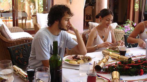 Laura Nunes eating Christmas dinner in 2006 (Supplied)