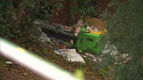 Rubbish and detritus is strewn across the property. Picture: 9News